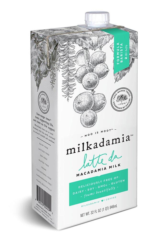 Milkadamia Latte Da Barista, Macadamia Milk, 32 Oz (Pack of 3), Gluten Free, Vegan, Non GMO and Non Dairy