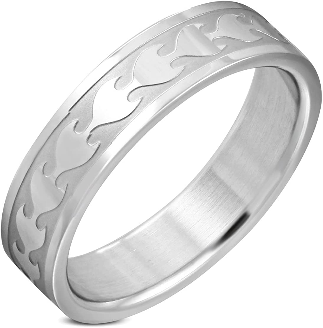 Stainless Steel Tribal Flame Flat Band Ring