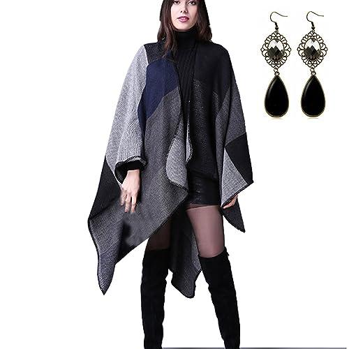 Sitengle Donna Eleganti Scialle a Quadri Mantello Cardigan Casuale Invernale Poncho Silenziatore