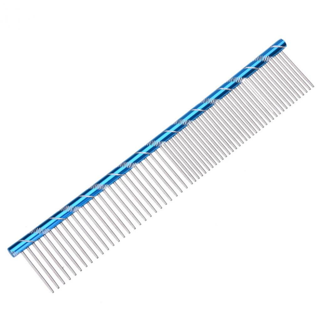 SoundsBeauty Pet Dog Cat Stainless Steel Double Row Teeth Brush Grooming Fur Hair Comb Tool - Blue