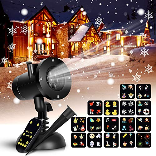 Snowflake Projector Lights - 16 Slides Home Lights Projector Christmas Projector Lamp with Remote Control, Waterproof LED Projector Landscape Projector for Outdoor
