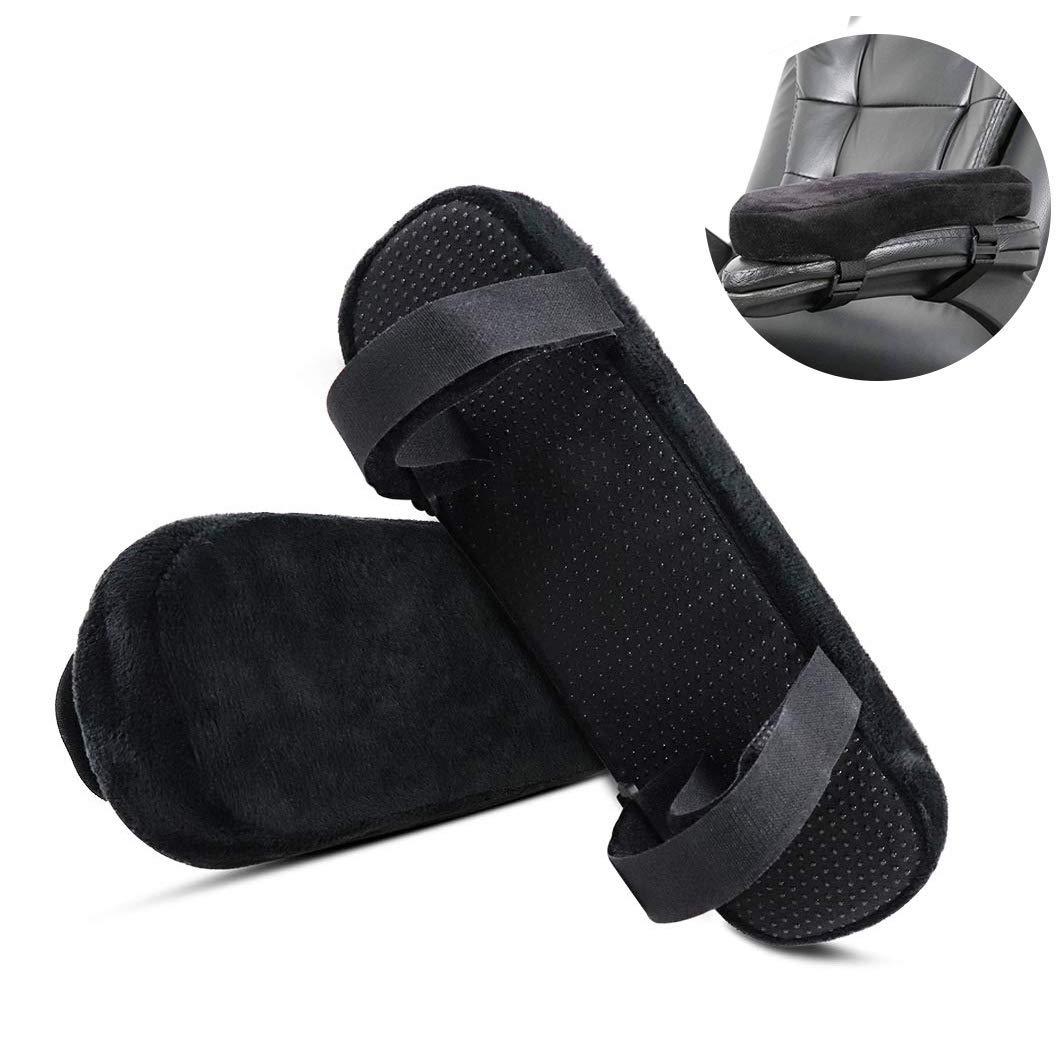 ZJDU Armrest Pads: Ergonomic Memory Foam High Density Anti-Slip Arm Rest Covers, Jumbo Computer Elbow Cushion Arm Pads, Universal - Office, Gaming, Wheelchair,Relieves Forearm Pain Fatigue 2PCS by ZJDU