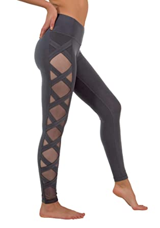 2b204276ba2f8 90 Degree By Reflex Women's High Fashion Criss Cross Workout Leggings Sheer  Mesh Panels at Amazon Women's Clothing store: