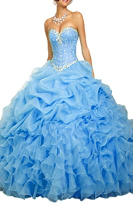 Prom Queen Womens Beaded Ball Gown Sweet 16 Dresses Princess Quinceanera Dresses