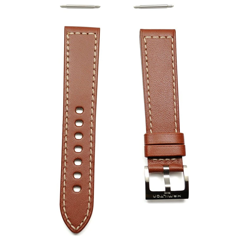 Hamilton Khaki Lederband braun mit Schnalle Stahl 20 mm h600.704.104