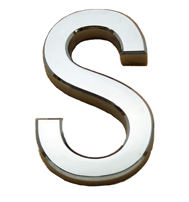 gebogen D selbstklebend Chrom-Buchstaben 3,5 cm H/öhe