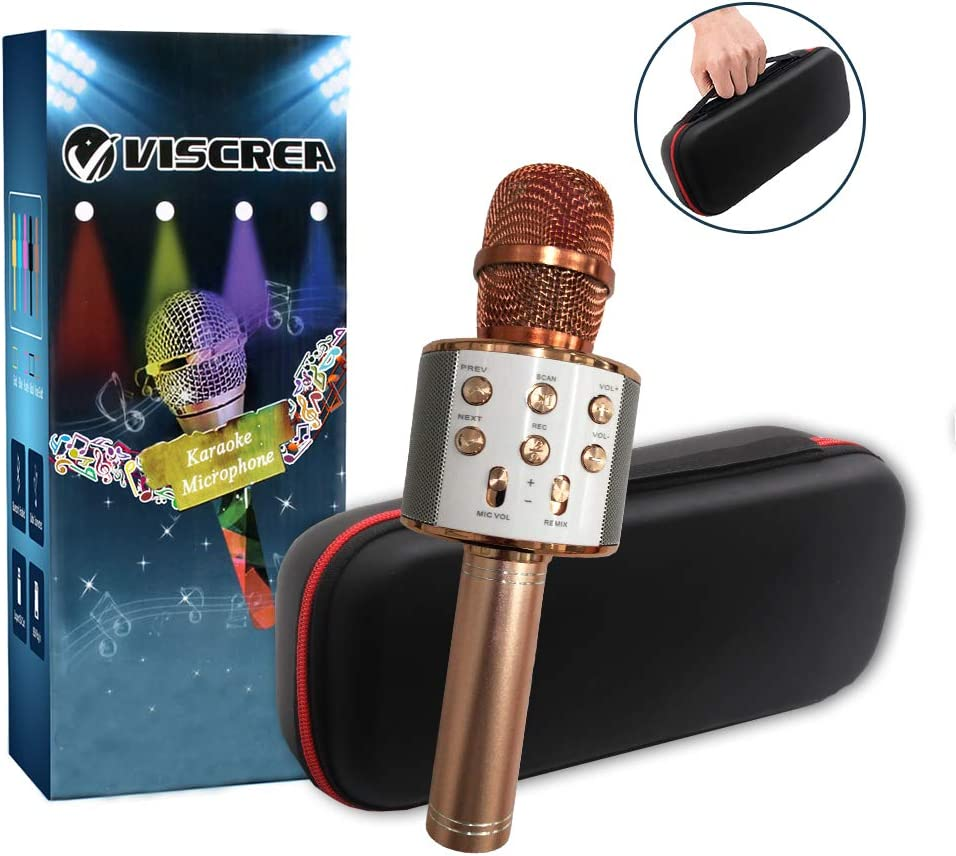 2019 Upgraded Bluetooth Wireless Karaoke Microphone,Portable Karaoke Mic for Home Traveling Party,Kids Karaoke Machine KTV Microphone Music Player,Nice Gift for Xmas/Birthday/Mother day(Rose Gold) 61l-poONgpL