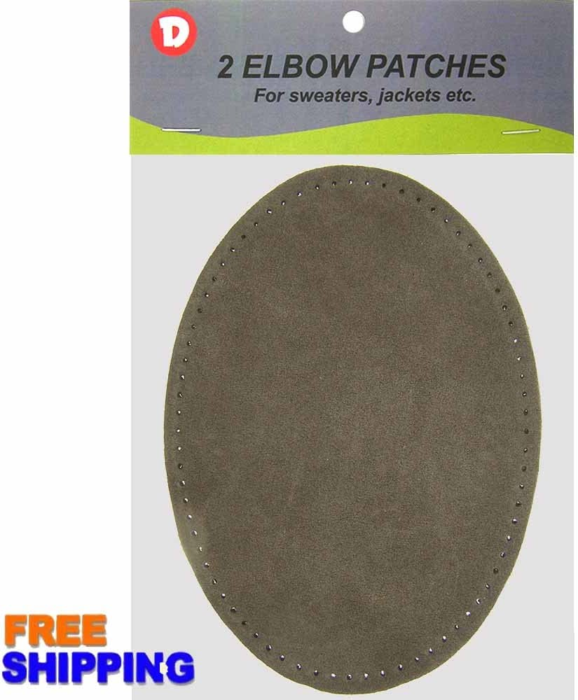 Two Large Sew-On Natural Suede Elbow Patches 4.75 in x 6.5 in Antique Grey