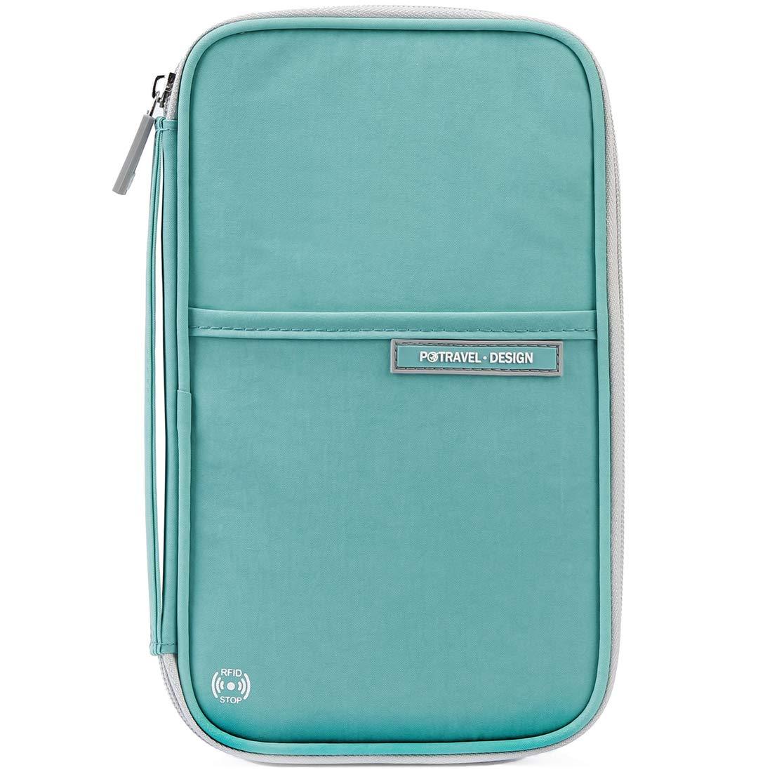 VanFn Passport Wallets, Travel Wallet, RFID Family Passport Holder, Trip Document Organizer (Green)