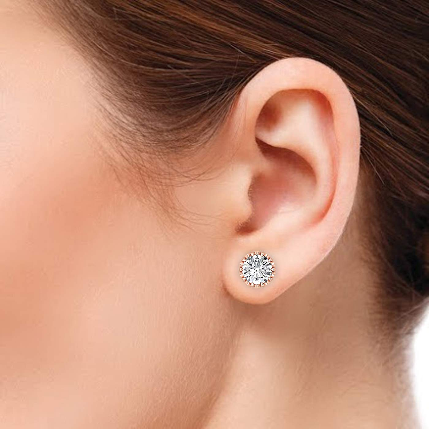 18K rose-gold GH//VVS Earring Studs 0.3 to 4 Carat Moissanite Stud Earrings Round Brilliant Stud Earrings for Women perfect Jewelry Gifts for Women Teen Girls