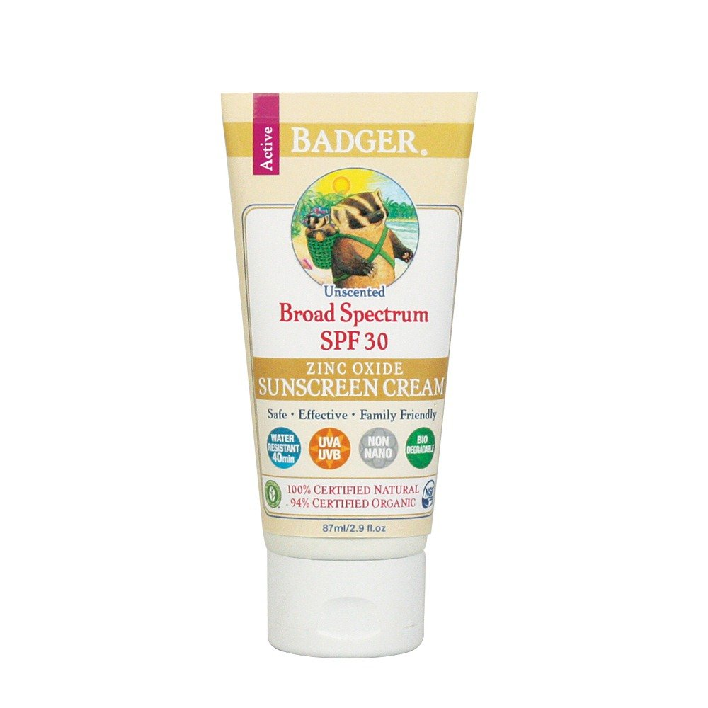 Badger - SPF 30 Active Mineral Sunscreen Cream for Face and Body, Unscented - 2.9oz Tube 47400
