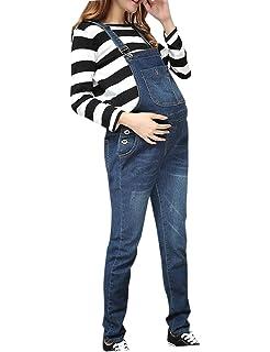 ea371d86da9d zhxinashu Abbigliamento Gravidanza Donna Jeans Premaman - Pantaloni  Bavaglino Salopette maternità Cintura Regolabile Multi Tasche Inverno