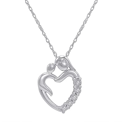 Amazon journey diamond mom and child heart pendant necklace in journey diamond mom and child heart pendant necklace in sterling silver aloadofball Choice Image