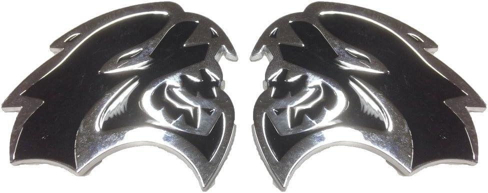 Larger Version Replaces OEM for Dodge Mopar 68269896AA//68269897AA SRT SRT8 BOTH Left /& Right Fender Hellcat Emblem