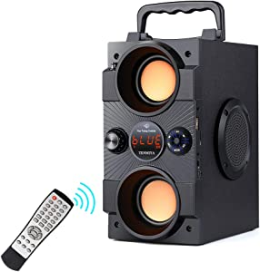 Portable Bluetooth Speakers with Double Subwoofer Heavy Bass, 30W Stereo Sound, Bluetooth 5.0 Wireless 100ft Outdoor Speaker, Support FM Radio MP3 Player Remote AUX EQ, for Home Patio Party Camping