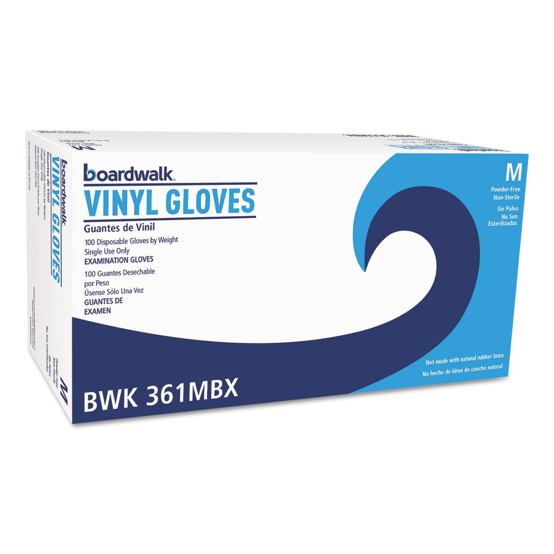Boardwalk 361MCT Exam Vinyl Gloves Clear Medium 3 3/5 mil 1000/Carton by BWK361MCT