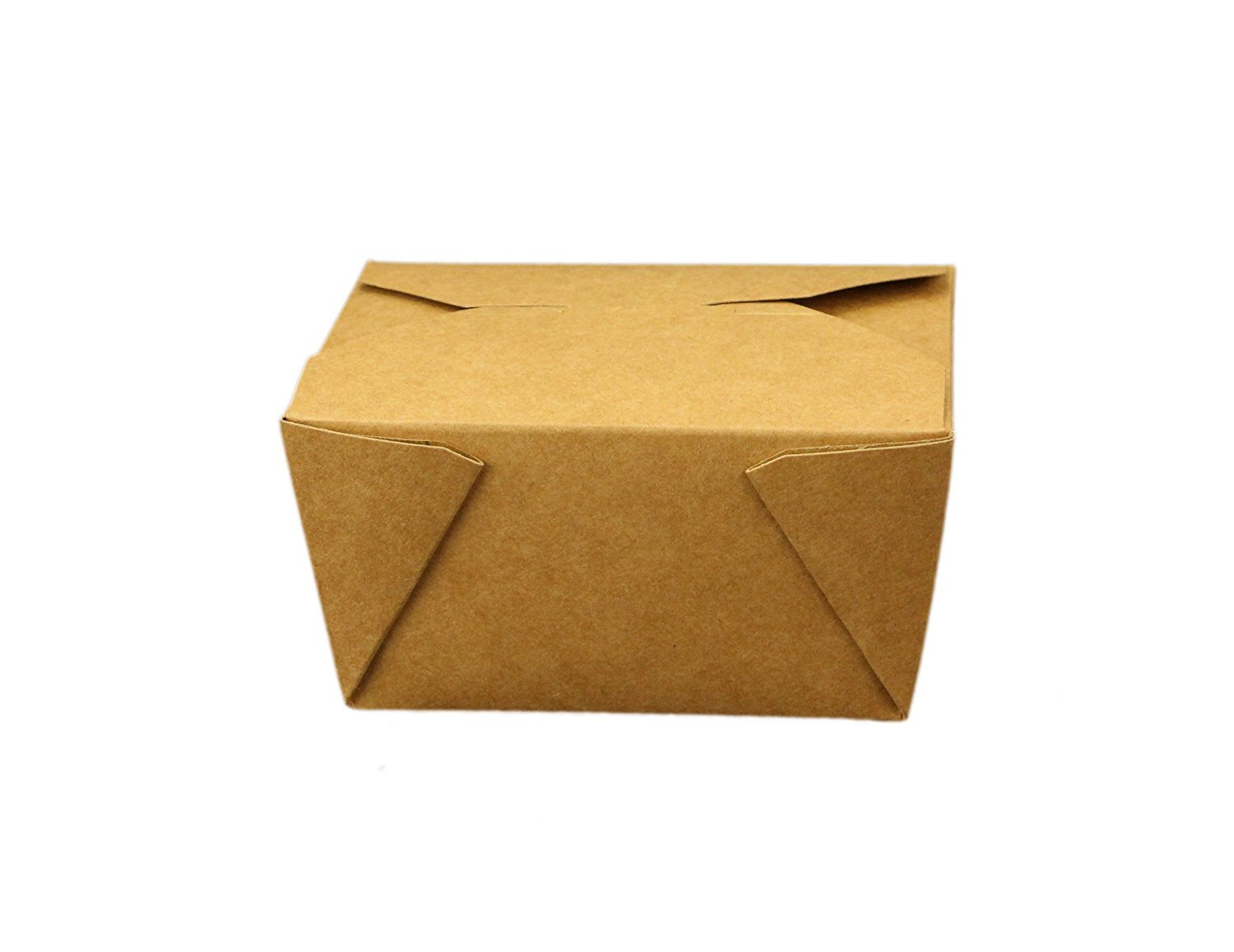 """Take Out Containers Easy Fold & Close (Pack of 50) Box #1 Kraft Paper with Poly-coated Inside To-go Containers [30oz - 4.3"""" x 3.5"""" x 2.4""""]"""