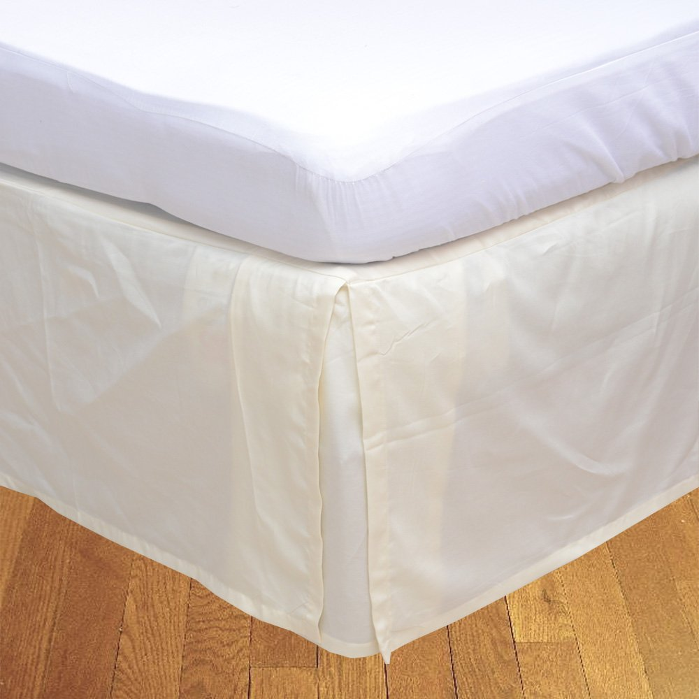 Relaxare Queen 300TC 100% Egyptian Cotton Ivory Solid 1PCs Box Pleated Bedskirt Solid (Drop Length: 17 inches) - Ultra Soft Breathable Premium Fabric