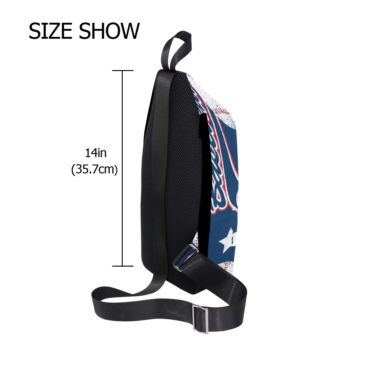 TFONE Baseball Pattern Crossbody Bag Lightweight Chest Shoulder Messenger Pack Backpack Sling Bag