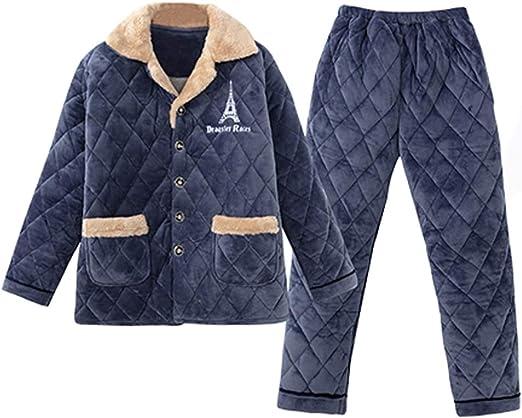 Pijama Invierno De Los Hombres De Tres Capas De Terciopelo De ...