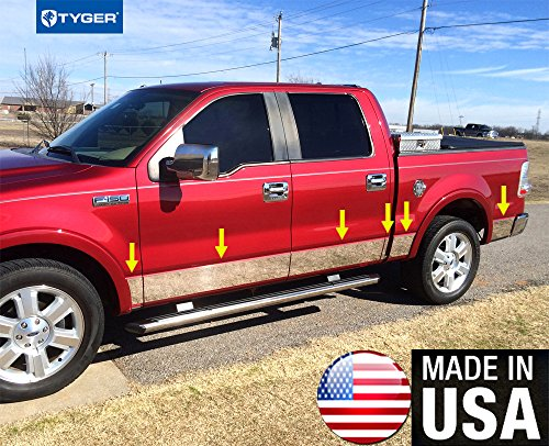 Made in USA! Works with 04-08 F150 Crew Cab 5.5' Short Bed W/Fender Flare Rocker Panel Chrome Stainless Steel Body Side Moulding Molding Trim Cover 7