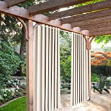 SeeSaw Home Mildew Resistant Thermal Insulated Outdoor Curtains/Draperies for Patio or Front Porch Eyelet Grommet, 120W By 84L Inch, 1 Panel, Beige