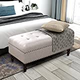 Merax Button Tufted Bench with Nail Head Trim Multi Position Bench