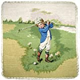 Deluxe Pillows Golf Boy in Blue - 14 x 14 in. needlepoint pillow
