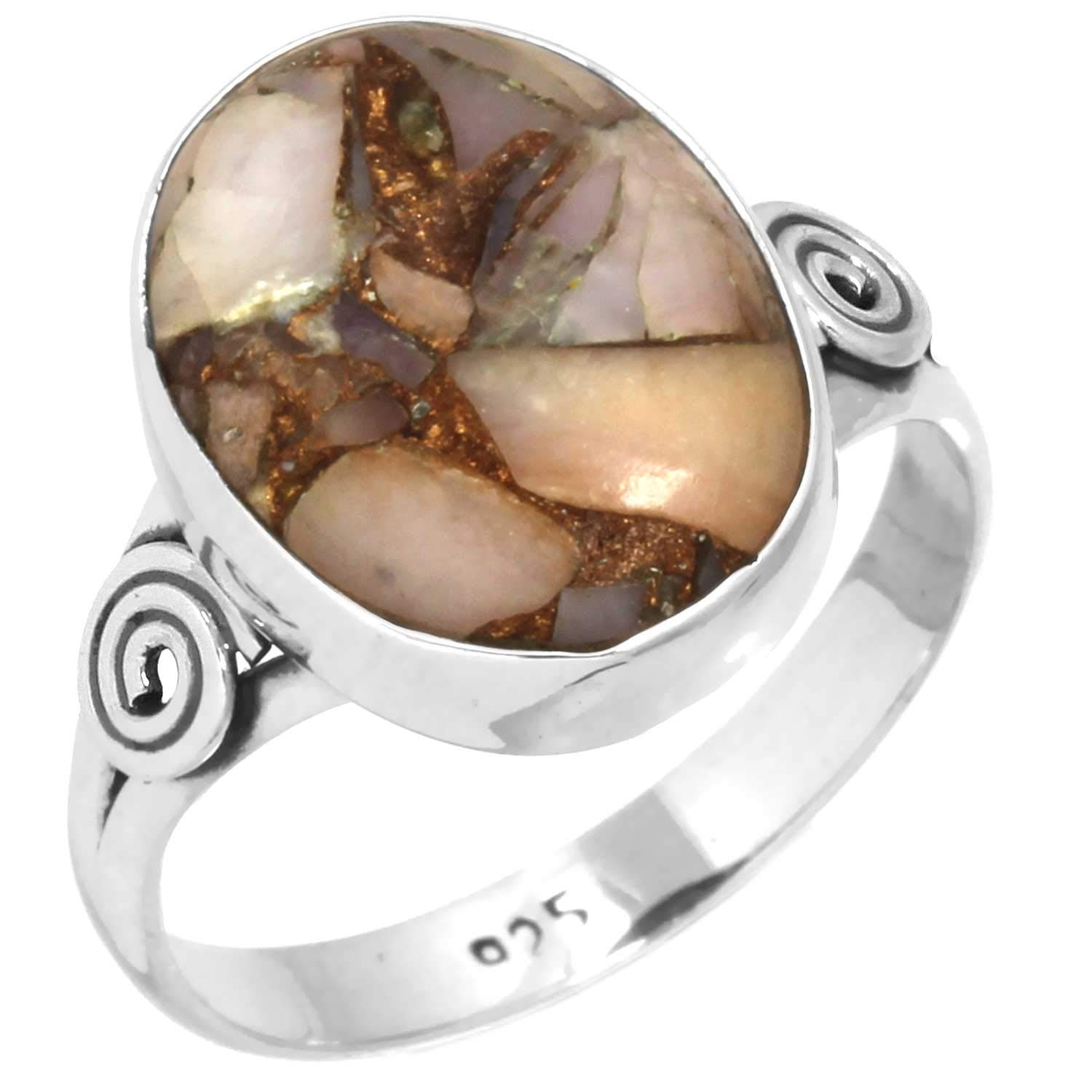 Natural Mohave Pink Opal Unique Jewelry Solid 925 Sterling Silver Ring Size 9.5