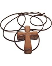 Handmade Wooden Cross Adjustable Corded Necklace - Ancient Cute Wooden Christian Religious Cross Necklace Pendant - with Wood Vintage Look - for Men/Women Idea