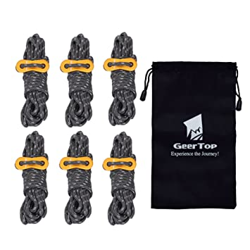GEERTOP 4mm Reflective Tent Guide Rope Guy Line Cord with Aluminum Adjuster - 13 Feet 6  sc 1 st  Amazon.com & Amazon.com : GEERTOP 4mm Reflective Tent Guide Rope Guy Line Cord ...