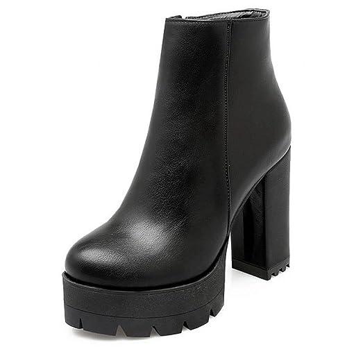RAZAMAZA Moda Botas Otono Invierno de Tacon Ancho Alto para Mujer: Amazon.es: Zapatos y complementos