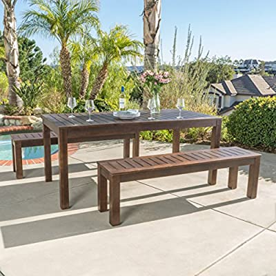 Marin | Acacia Wood Outdoor Picnic Set | Perfect for Patio | | in Dark Brown