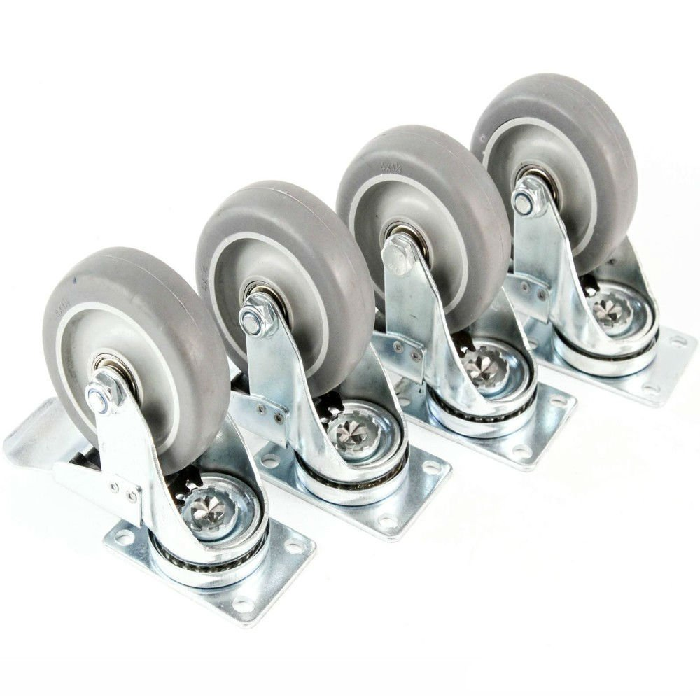 "US Swivel Plate Caster Set with 4/"" Polyurethane Wheel  Rear Brakes Non Skid Mark"