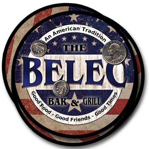 Belec Bar&Grill Family Name Neoprene Rubber Coasters - 4pcs from ZuWEE
