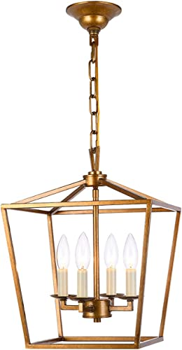 Lantern Pendant Lighting Fixture, A1A9 Iron Cage Frame Chandelier Industrial LED Ceiling Light for Foyer, Farmhouse, Dining Room, Entryway, Hallway, Stairway D12 H16 Chain 45 Antique Brass