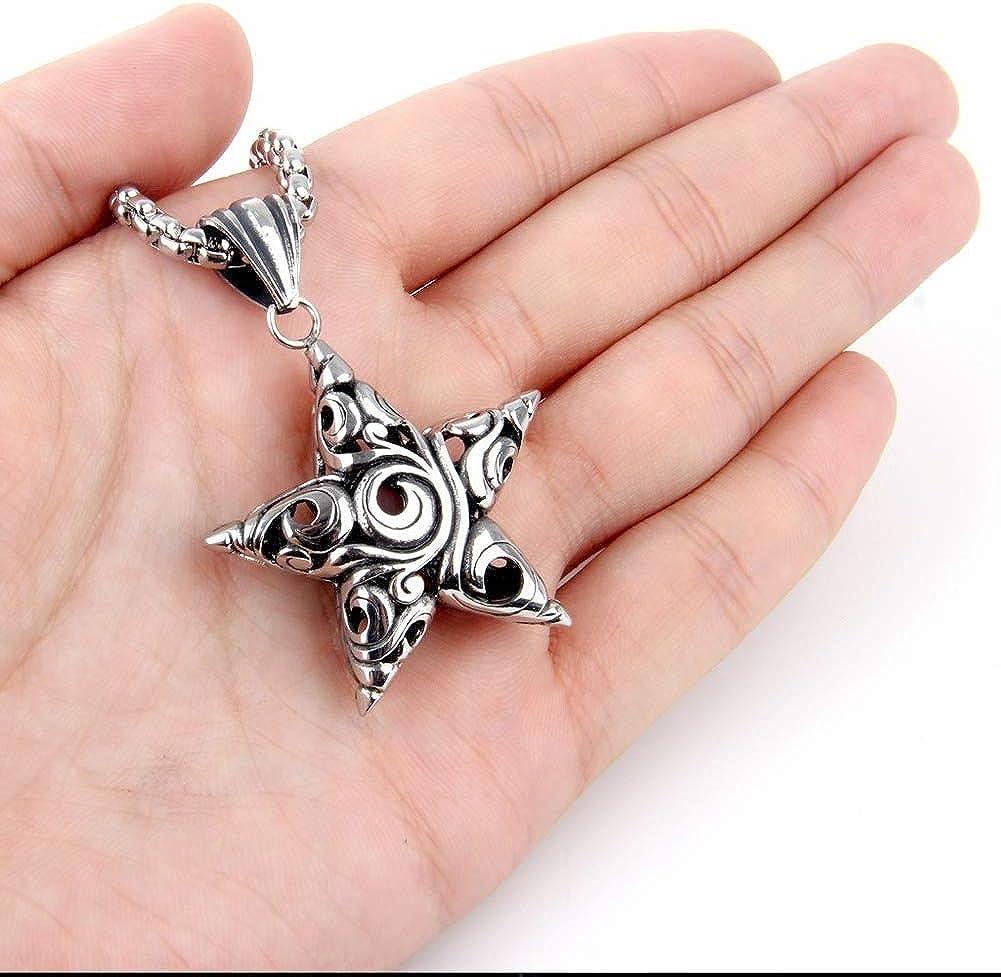 Wyanger Fashion Titanium Steel Pendant Necklace Vintage Hip Hop Pentagram Engraved Pendant