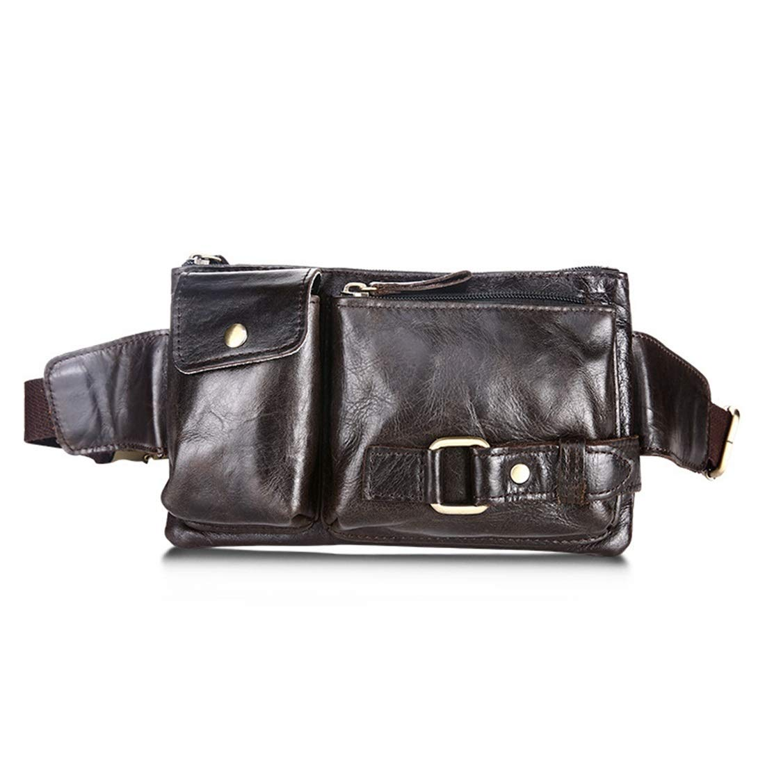 Fanny Pack Adams chad Genuine Leather Lambskin Waist Bag Color : Green Oil
