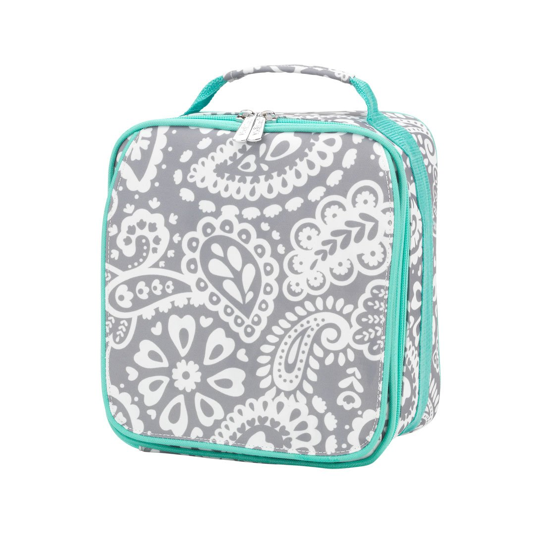 Insulated Water Resistant Lunch Bag - Parker Blue Grey Paisley