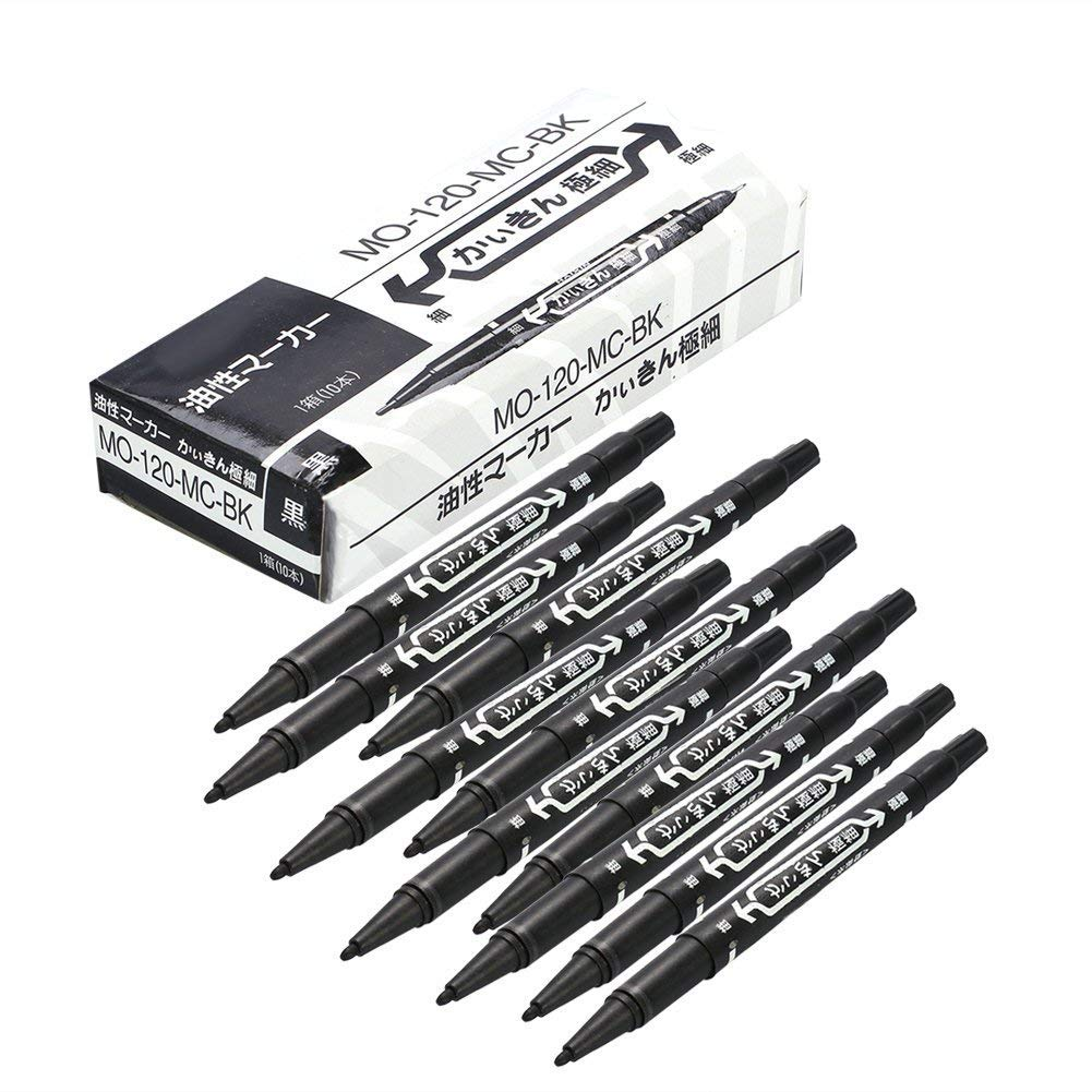 10PCS/Box Tattoo Pen Tattoo Piercing Art Marking Scribe Dual-tip Scribe Pens Black Sonew