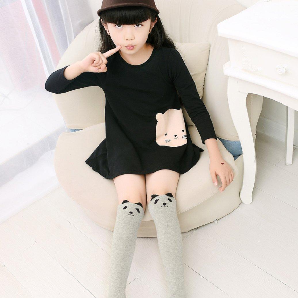 TRENTON Kids Girls Cute Cartoon Pattern Cotton Tube Socks Over Knee Stockings