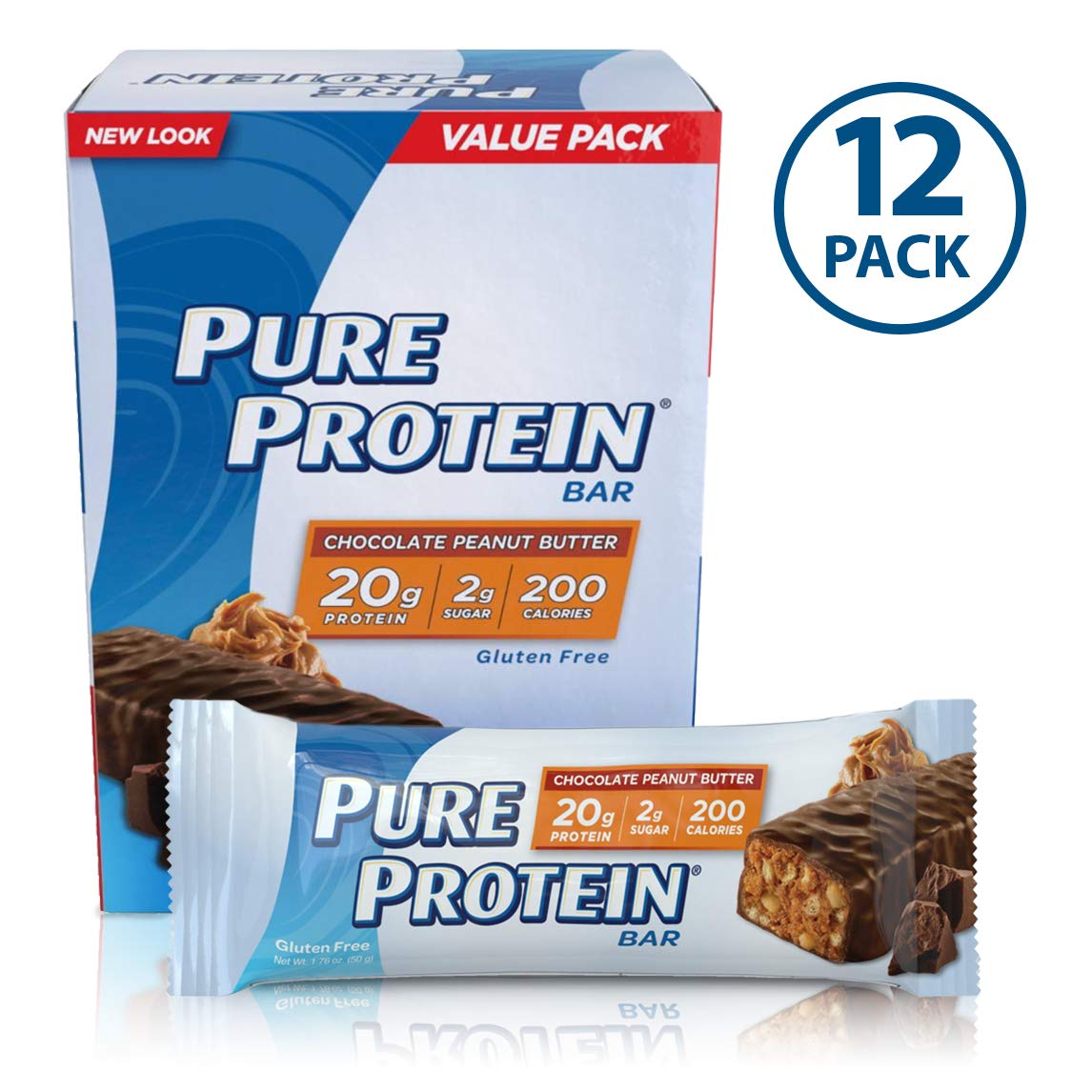 Pure Protein Bars, High Protein, Nutritious Snacks to Support Energy, Low Sugar, Gluten Free, Chocolate Peanut Butter, 1.76oz, 12 Pack by Pure Protein