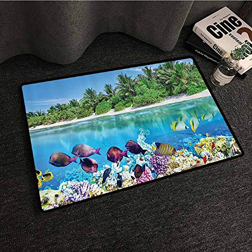 edroom Doormat Sandy Seacoast and The Underwater Aquatic World in Maldives Travel Diving Paradise Photo Country Home Decor W35 xL47 Multi ()