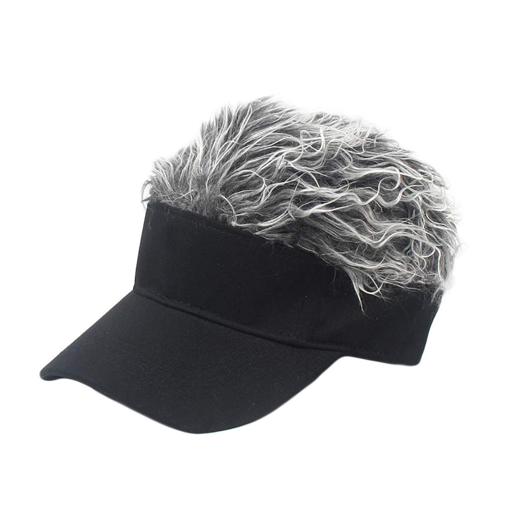 Wig Baseball Cap Sun Visor Cap Parent-Child Hat Peaked Adjustable Baseball Hat Spiked Hair Gag Visor Hat Cap (B)