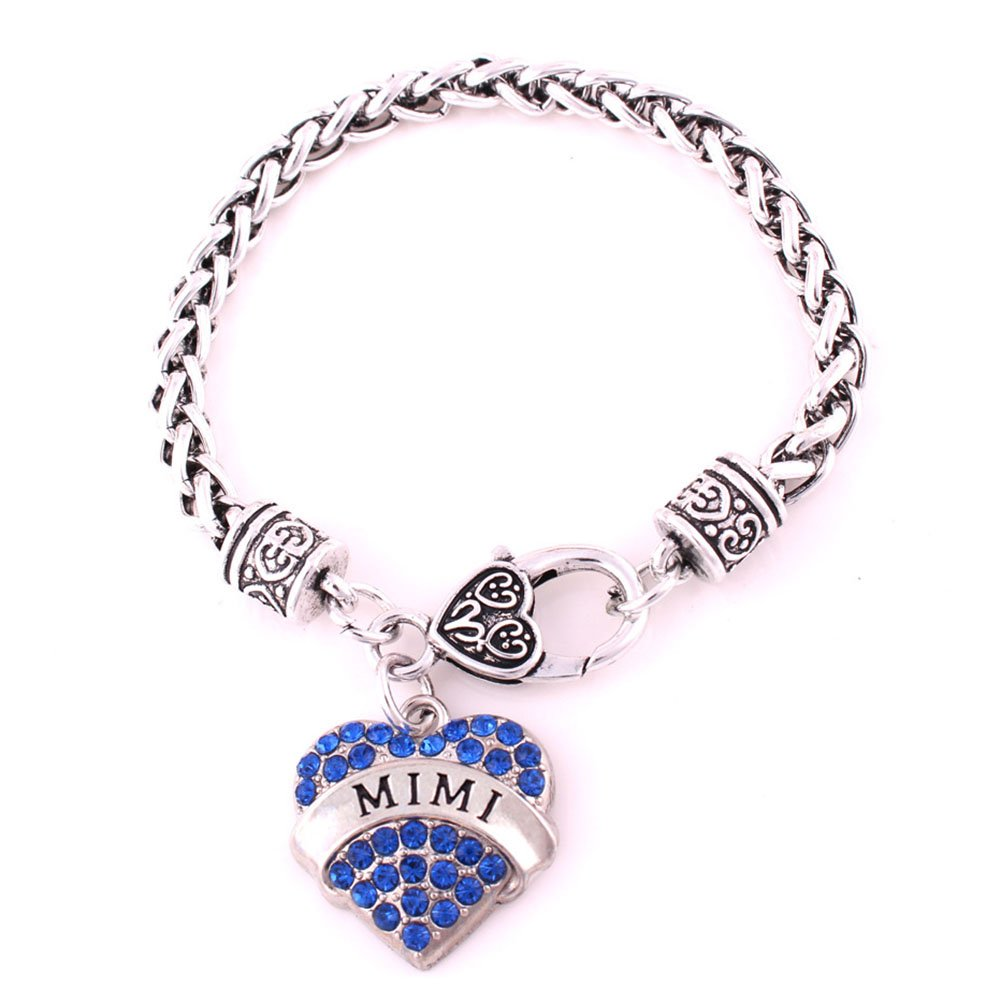 Mother's Day Gift for Mom Bracelet Engraved Lobster Claw Clear Crystal Pave Heart Charm Bracelet JiangYan-US JY-BT-01-0004