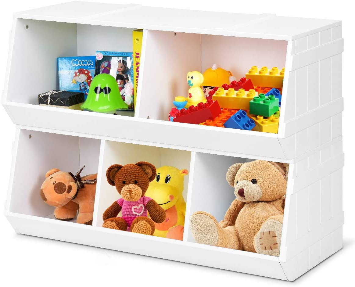 Giantex Kids Toy Storage Bins Children Collection Shelf Multi-Bin Storage Cubby Bin Storage Organizer