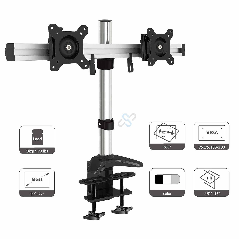 HFTEK® Support de bureau pour deux écran moniteur LED LCD 15 à 27 pouces avec VESA 75 - 100 (MP220C-L)