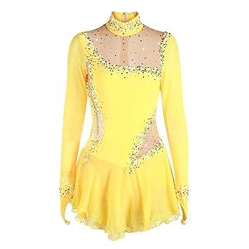 Vestido de patinaje artístico hecho a mano para niñas, concurso de patinaje sobre hielo,