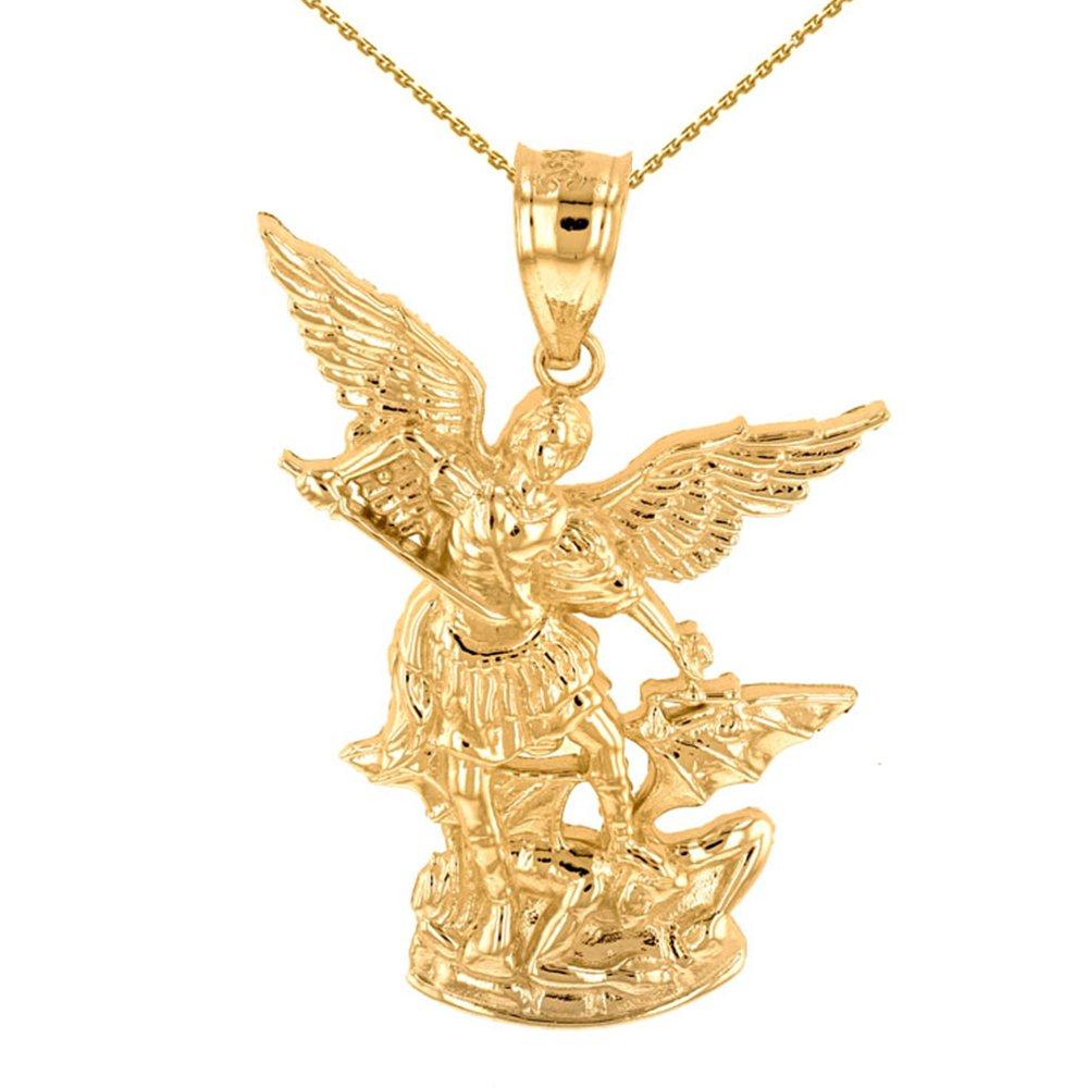 14k Yellow Gold Catholic Saint Michael The Archangel Pendant Necklace (1.35''), 22''