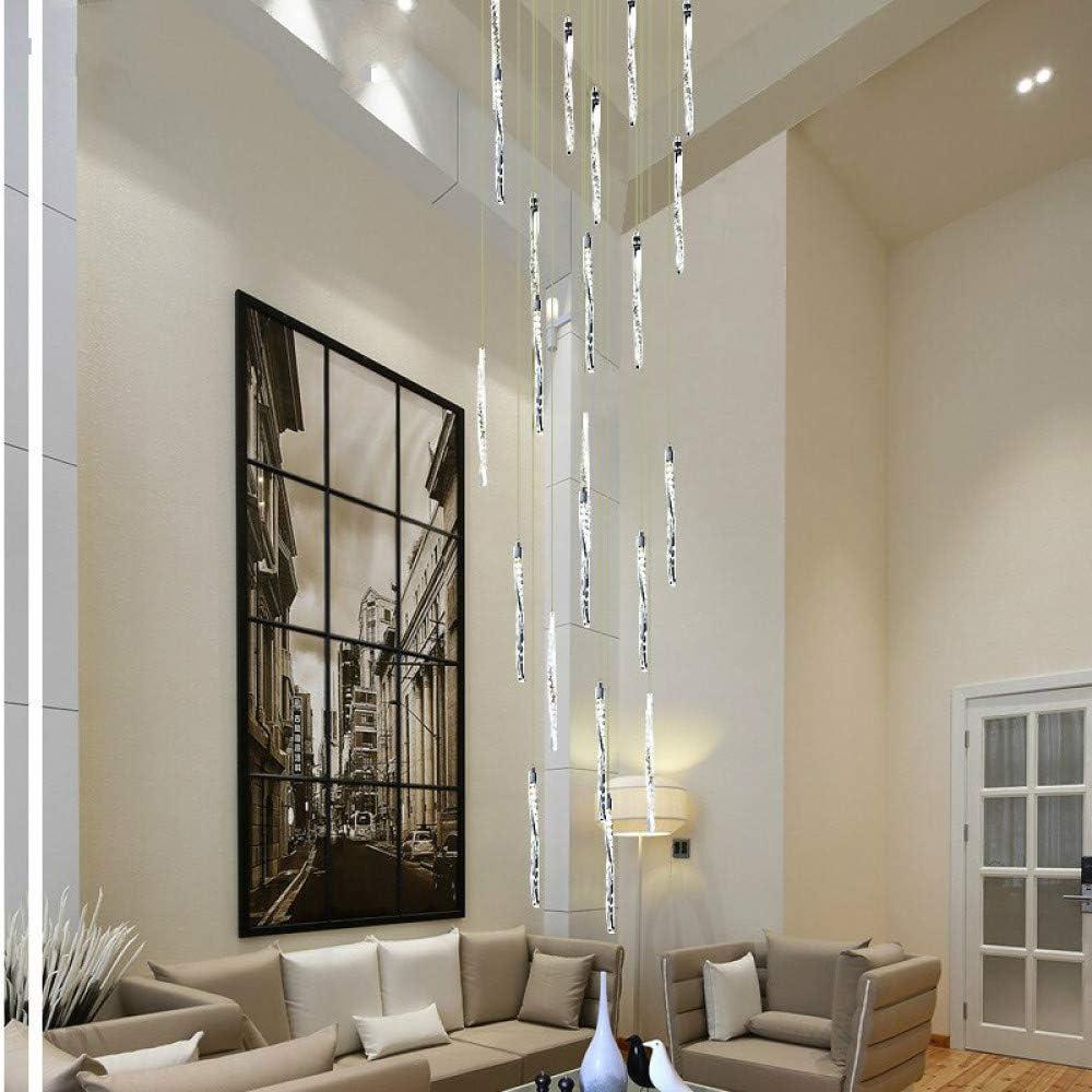 WSYYWD Sala de estar Hotel Restaurante Brillante Espiral de aluminio Lámpara de techo de cristal Led Luz de escalera larga Led Blanco cálido 60x60x250cm: Amazon.es: Iluminación